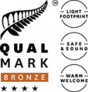 Stacked Qualmark 4 Star Bronze Sustainable Tourism Business Award Logo